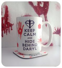 Keep Calm and Hide Behind Daryl Dixon 15 Ounce Mug from The Walking Dead