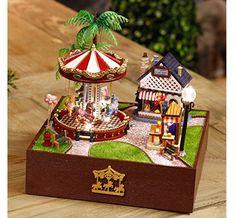 Miniature Music Box!! DIY Kit, Merry-Go-Round Amusement Park Doll House, Dollhouse with LED Lights and Furniture, Musical Mini Carousel Fair