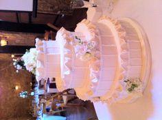 Vintage inspired ruffles wedding cake www.sublimebakery.com