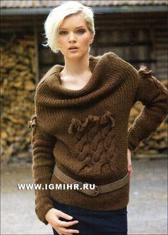 Косы в новейшем исполнении. Коричневый пуловер с большим воротником. Спицы