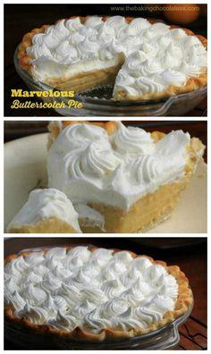 Marvelous Butterscotch Pie – The Baking ChocolaTess Dessert Simple, Pie Dessert, Dessert Recipes, Fruit Dessert, Pudding Desserts, Butterscotch Pudding, Cupcakes, Sweet Pie, Tart Recipes