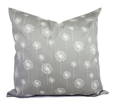 Two Grey Dandelion Couch Pillows - 20 x 20 inches - Grey Pillow Cover - Grey Pillows - Decorative Throw Pillow Cushion Cover Accent Pillow on Etsy, $35.75 CAD