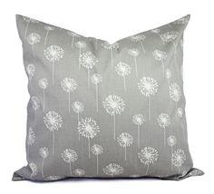 Two Grey Dandelion Pillows - Decorative Throw Pillow Covers - Grey Pillow Cover - Grey Pillows - Couch Pillow - Pillow Sham