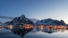 Lofoten, Mountain Range, Norway, Ocean, Sky, Island, Mountains, Water, Travel