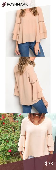 Leanna Ruffle Bell Sleeve Top • Details www.stylesbybboutique.com 3/4 ruffle bell sleeve top    • Content + Care 98% Polyester 2% Spandex Machine wash cold Made in China Stylesbyb.Boutique Tops Blouses