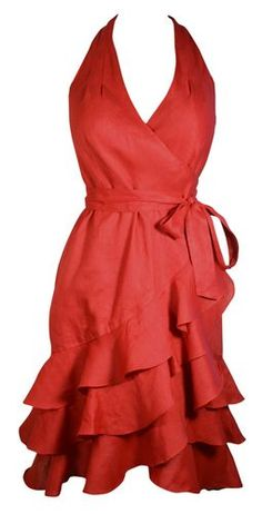 Ralph Lauren Dress Red Linen Wrap with Tiered Ruffles Size 4 Retail $189 ~ ours 4 Less $99
