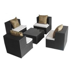 Art-Deck-Oh! Geo-Cube All Weather Wicker Chat Set by Deeco Consumer Products LLC. $1249.99. The Art-Deck-Oh! Geo-Vino All Weather Wicker Chat Set provides an innovative interlocking design which allows you the most efficient use of space in your home or outdoors. In addition, the beauty and esthetics of this set's contemporary style compliments any setting. This finely woven wicker product consists of polyethylene-based resin that has been laboratory tested to resist fading a...