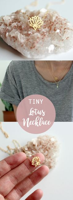 The prettiest little gold lotus necklace. The lotus has such a deep meaning that this necklace makes a great gift for friends or yourself! It's also the perfect yoga accessory. yoga necklace, lotus flower, lotus flower meaning, gift for best friend, gif