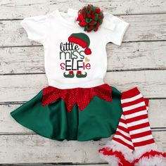 Won't your sELFie look so cute in this outfit!? Elf outfit, elf costume, Christmas outfit, Christmas elf, Christmas shirt, little elf, baby elf