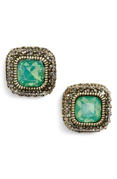 Adding a little bit of glitz to tonight's look with these pretty mint jewel stud earrings.