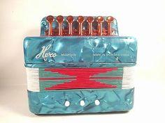 Hero Child's Vintage Accordion Green Blue Marbleized Shanghai China 7 Key 1980s