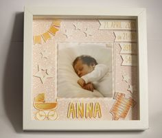 Plus - Personalized birth image in a Ribba frame - a designer piece . Baby Crafts, Diy And Crafts, Baby Photo Frames, Matchbox Crafts, Diy Shadow Box, Name Frame, Ribba Frame, Baby Accessoires, Diy Presents
