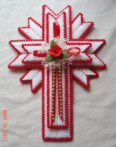 Plastic Canvas Cross Magnet | Red Cross Magnet made from Plastic Canvas by LesleesCrafts on Etsy