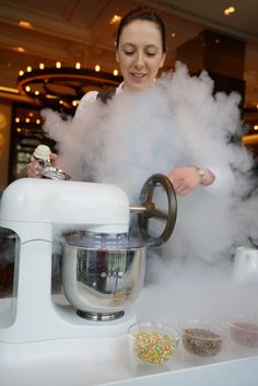 Liquid Nitrogen Ice-cream made by our table during our lunch at Heston's DINNER restaurant in Knightsbridge, London. Fun, theatrical food by a Michelin starred chef.