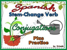 Spanish Stem Change Verbs Conjugations Notes and Practice Powerpoint BUNDLE from Spanish the easy way! on TeachersNotebook.com -  (47 pages)  - Spanish stem-changing verbs conjugations and practice all in one powerpoint, PLUS hardcopies for your students to follow along with in class!  This fun, interactive powerpoint includes sound and motion to really grab your students� attention!