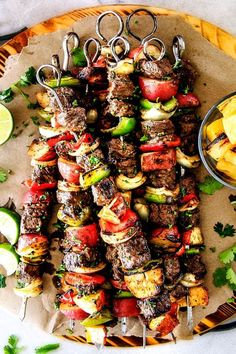 Baked or Grilled Brazilian Steak Kabobs with Potatoes (VIDEO!) Brazilian Steak Kabobs with Potatoes, Onions and Peppers- Oh my goodness, these were just as good as any Brazilian Steakhouse! So crazy juicy, exploding with flavor and super easy! Grilling Recipes, Meat Recipes, Dinner Recipes, Cooking Recipes, Healthy Recipes, Healthy Grilling, Beef Kabob Recipes, Easy Bbq Recipes, Steak Kabobs