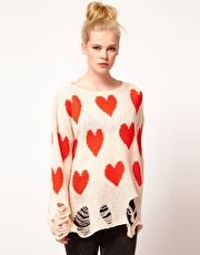 Wildfox All Over Love Shredded Sweater