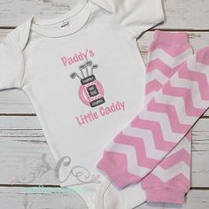 Fathers Day Gift - Baby Girl Golf Shirt Pink & Gray Baby Girl - Golf Girl Bodysuit - (WITH LEG WARMERS)