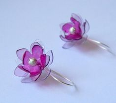 Country beyond the arc: Earrings flowers from plastic bottles - Flower earrings from plastic bottles