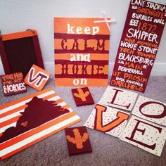hokie canvas - would be cute to do virginia canvas in wine and blue