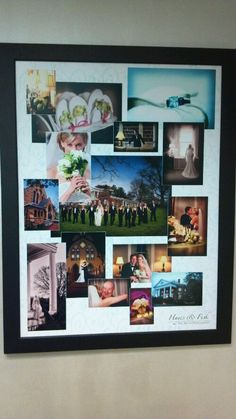 Cool way to display wedding photos on wall in your home! Great wedding ideas on this blog!