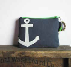 Anchor Screenprint Mini Zipper Pouch by HummingbirdFactory on Etsy