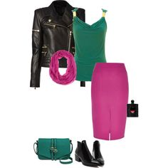Cool Winter's green is a little on the cool side. It has a touch of blue in it. I paired it with a classic winter fuchsia pink. I love the black leather jacket.  Have fun and wear what you love!  Jen Thoden   Download your cool winter color guide today!