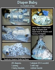 How To Make A Diaper Baby A truly unique baby shower gift . - Baby Diy - How to make a diaper baby, A truly unique baby shower gift … - Regalo Baby Shower, Baby Shower Crafts, Unique Baby Shower Gifts, Baby Shower Diapers, Baby Shower Fun, Baby Shower Parties, Diaper Shower, Baby Party, Baby Shower Gifts