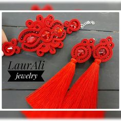 Sencillo rojo Tassel Jewelry, Diy Jewelry, Handmade Jewelry, Diy Tassel Earrings, Red Earrings, Soutache Bracelet, Soutache Jewelry, Shibori, Tree Of Life Jewelry
