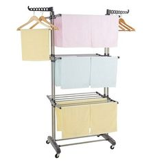 """Rebrilliant Features:1. Composed of heavy-duty, frame and Aluminum Alloy & Plastic, this laundry area is durable and sturdy for both indoor and outdoor use; With (Every Layer Height: 21.06"""" / 53.5cm) drying space, it can be used for hanging clothes, towels, bedding and more/ 