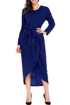 Navy Tulip Faux Wrap Sash Tie Long Sleeve Jersey Dress modeshe.com