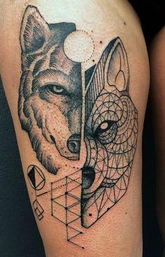 Half Geometric Wolf Face Thigh Tattoo
