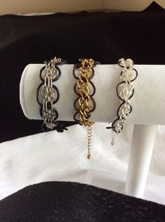 A personal favorite from my Etsy shop https://www.etsy.com/listing/234694654/chain-and-leather-bracelet