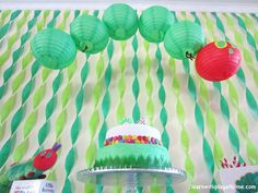 Cute decorations for the very hungry caterpillar birthday party