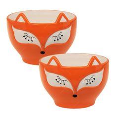 Conjunto de Tigelas Bowl Raposa - 2 Peças - Laranja em Cerâmica - 14x13 cm | Carro de Mola - Decorar faz bem.