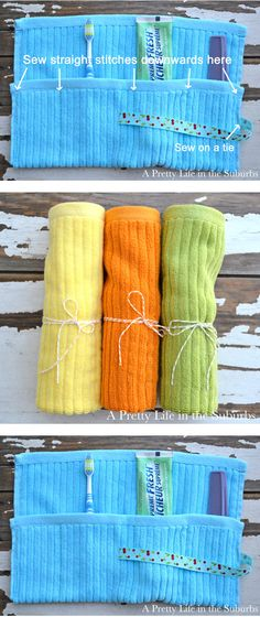 Washcloth Toiletry Travel Wrap  //  Great way to travel with toothbrushes!  Simple to make.