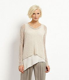 Eileen Fisher Leather Trimmed Mélange Top - made of matte yarn with a subtle shine, it's a relaxed fit, soft V-neckline piece perfect for layering.