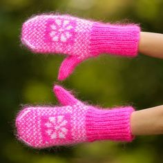 New Hand knit mohair mittens ICELANDIC soft PINK fuzzy hand warmers SUPERTANYA #SuperTanya #Mittens