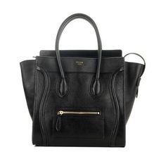 Celine Black Smooth Leather Mini Luggage Tote Bag ❤ liked on Polyvore featuring bags, handbags, tote bags, celine, bolsas, purses, black purse, celine purse, celine tote and mini handbags