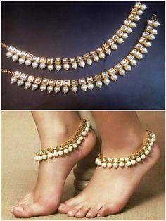 Impressive Golden Kundan Anklet For Your Lovely Feet Just In $ 38 Visit at http://bit.ly/29mbSHI