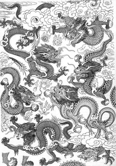Would've a great embroidery pattern or feature wall, wallpaper. Robert Beer ~ Tibetan Dragons