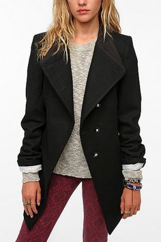 D Collection Asymmetrical Rib Collar Wool Coat  www.ourfavoritestyle.com