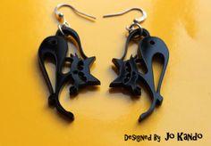 Orecchini in Plexiglass nero - Gattino di Oniric Boutique su DaWanda.com
