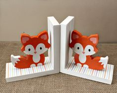Baby Fox Bookends - Woodland Nursery Decor - Fox Book Holders - Wooden Bookends - Baby Shower Gift - Animal Bookends - Fox Nursery Decor Baby Fox Bookends Woodland Nursery Decor Fox by TimelessNotion Fox Nursery, Woodland Nursery Decor, Woodland Baby, Fox Themed Nursery, Woodland Animal Nursery, Woodland Animals, Wooden Bookends, Shower Bebe, Book Holders