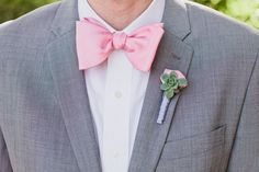 ok I know you wont do the bow tie... but here is a grey summer suit with a pink tie!
