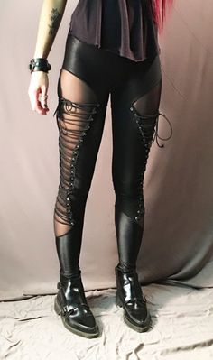Image of Corset leggings Wet Look, Tight Leggings, Victorian Gothic, Black Mesh, High Heel Boots, Corset, Leather Pants, Tights, Outfit Ideas