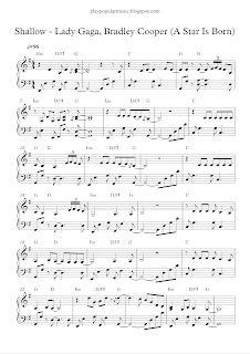play popular music: Shallow - Lady Gaga, Bradley Cooper (A Star Is Born) Popular Piano Sheet Music, Flute Sheet Music, Popular Music, Piano Music, Lady Gaga Quotes, Lady Gaga Lyrics, Never Love Again, Piano Tutorial, Music Like