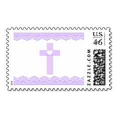 Purple Heart Cross Baptism Christening Postage