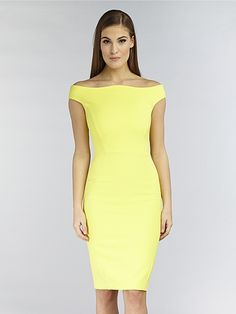 59603db1923 Hybrid Hybrid Bella Off Sholder Panelled Bodycon Pencil Dress in Bright  Yellow - Hybrid from Hybrid Fashion UK
