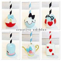 Alice in Wonderland Tweedle Dee & Tweedle Dum, Alice, Rabbit, Mad Hatter, Tea Pot, Card of Hearts Cake Pops